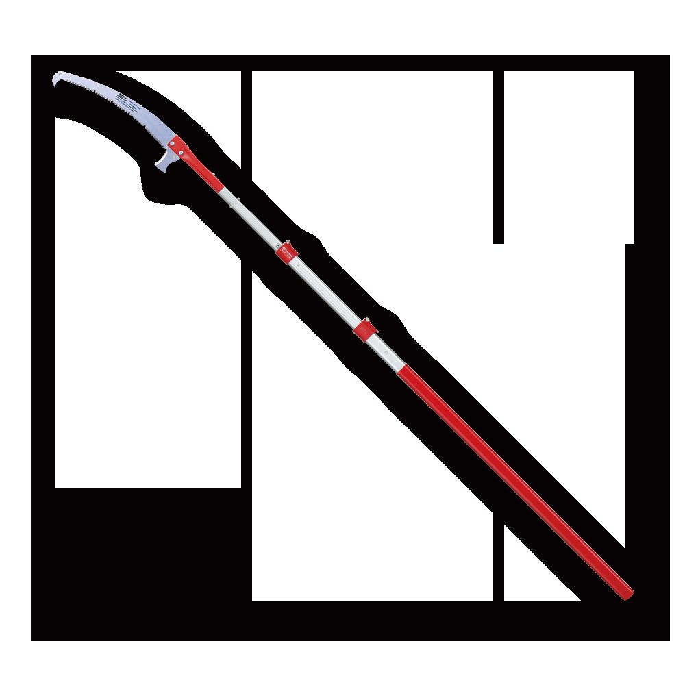最長6mタイプもご用意。プロの枝打ち作業や庭木の剪定に使える高枝式の鋸